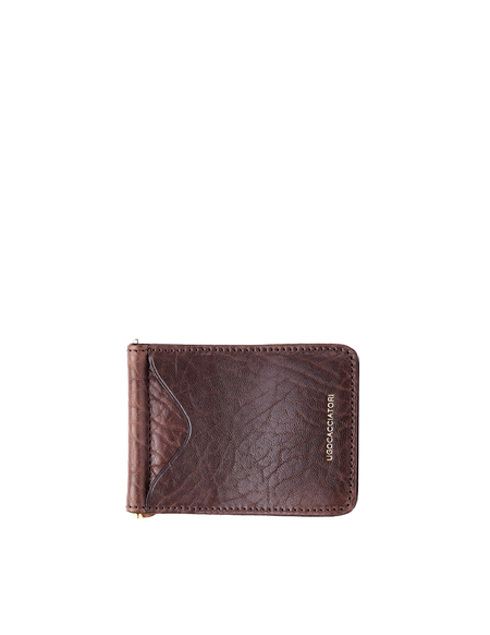 Ugo Cacciatori Grained Leather Clip Card Holder - Brown