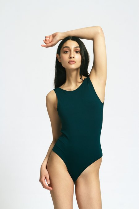 Mary Young Backless Thong Bodysuit - Emerald