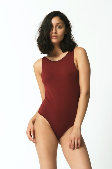 Mary Young Backless Thong Bodysuit - Maroon