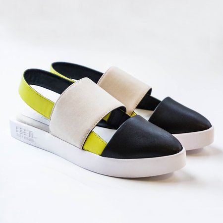 Issey Miyake 132.5 Sling Back Sandals - Black/Taupe/Yellow