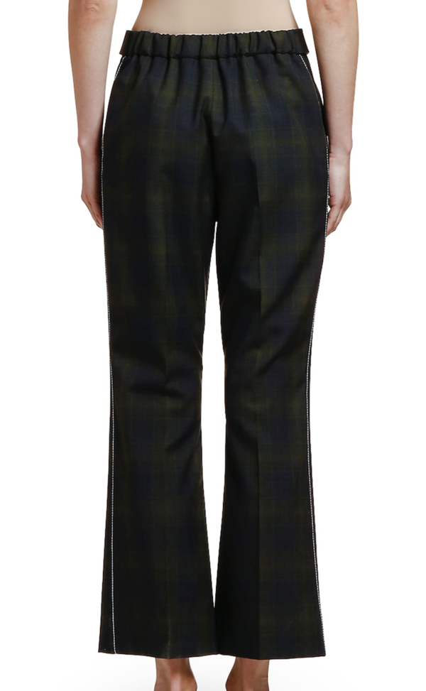MARNI Plaid Wool Cropped Trouser - Blue/Black Plaid