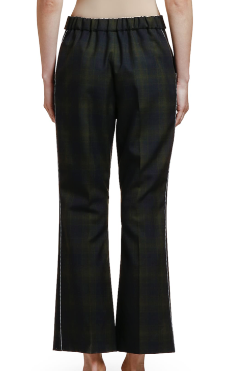 MARNI Plaid Wool Cropped Trouser - Blue/Black Plaid