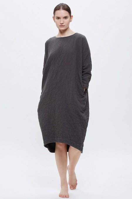 Black Crane Bud Dress - Dark Grey