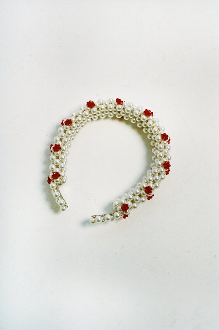 Shrimps Nelly Faux Pearl Headband - Cream/Red