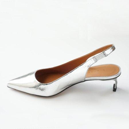 Robert Clergerie Metallic Kitten Heels - Silver