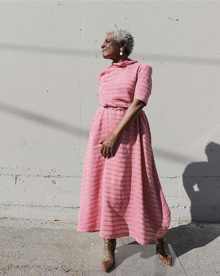 RACHEL COMEY Chenille Stripe Sola Dress - Guava