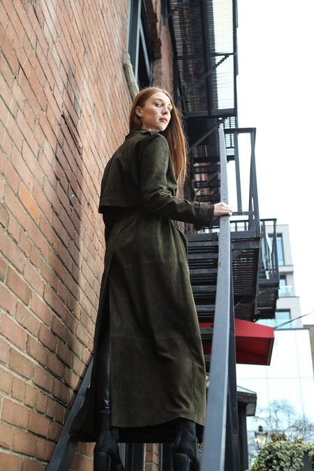 Privé Suede Trench Coat