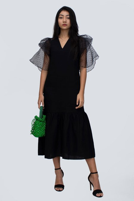 Jeamie Aubrie Organza Sleeve Dress