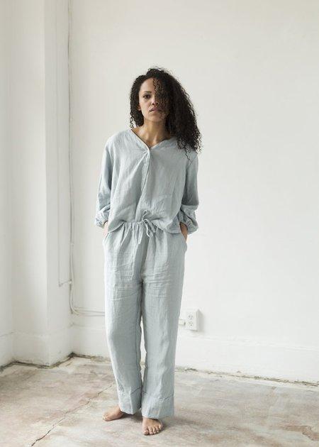 Deiji Studios Linen Drawstring Pant - Pale Blue