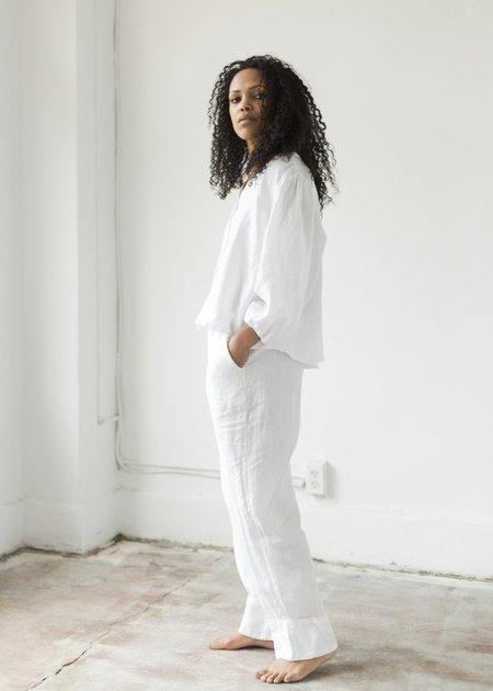 Deiji Studios Linen Drawstring Pant - White
