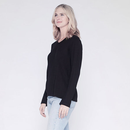 Wilt Darted Slouchy Crew Top - Black