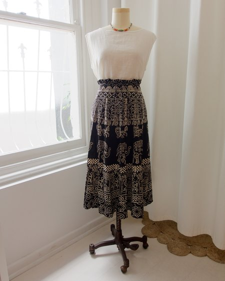 Vintage Patterned Skirt - black/natural