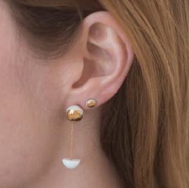 Jujumade pendant half moon earring