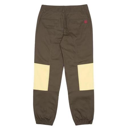Clot Contrast Patched Panel Pants - OLIVE