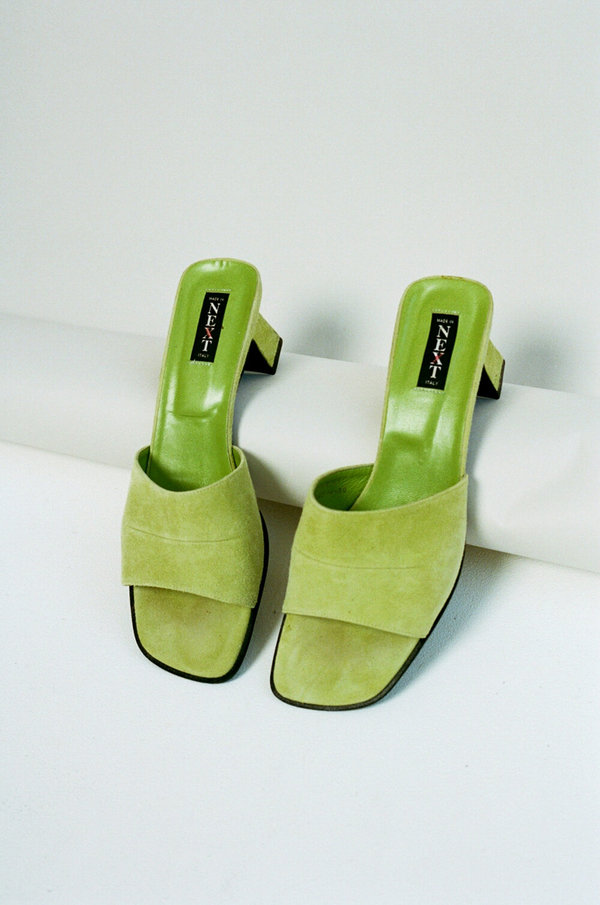 Vintage Next Suede Mules - Lime Green