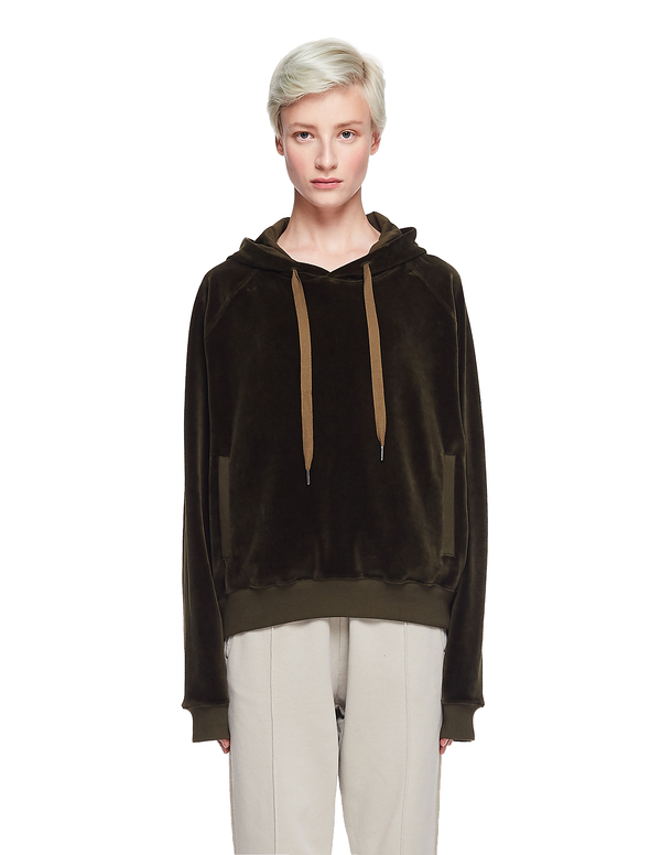 Haider Ackermann Velvet Embroidered Hoodie - Khaki