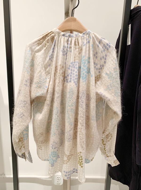 Mii Silk Polka Dot Blouse With Wool Overlay - Creme