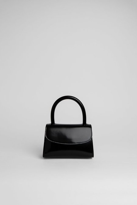 BY FAR Mini Bag Semi Patent Leather - BLACK