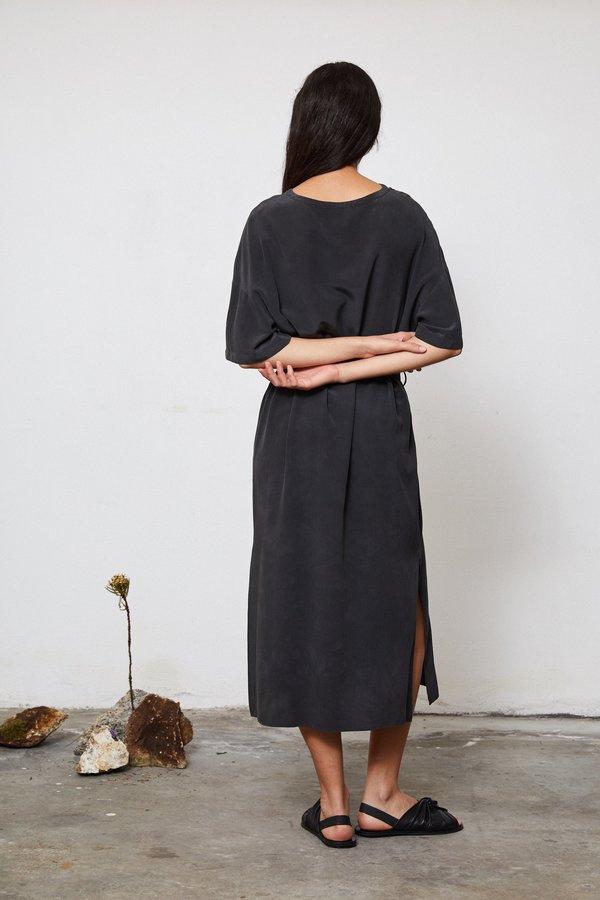 HAND DYED SILK T DRESS - EUCALYPTUS ON IRON POT