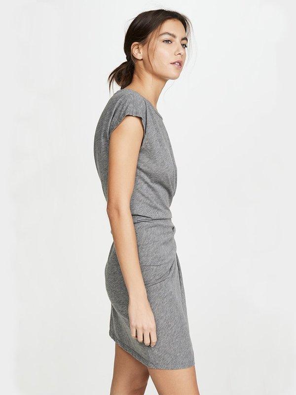 Velvet Gussie Tie Waist Dress - Grey