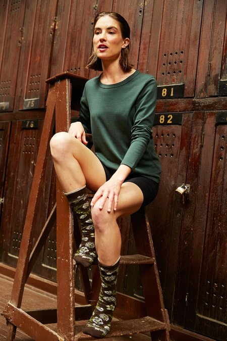 Lisa B. cotton long sleeve scoop neck t-shirt - ivy