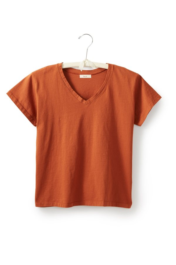 Lisa B. cotton short sleeve relaxed v-neck t-shirt