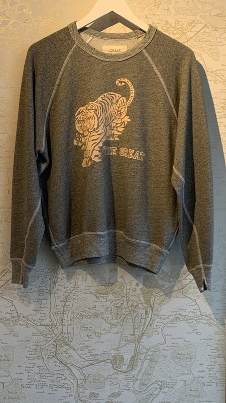 The Great. College Sweatshirt with Tiger Graphic - Heather Grey