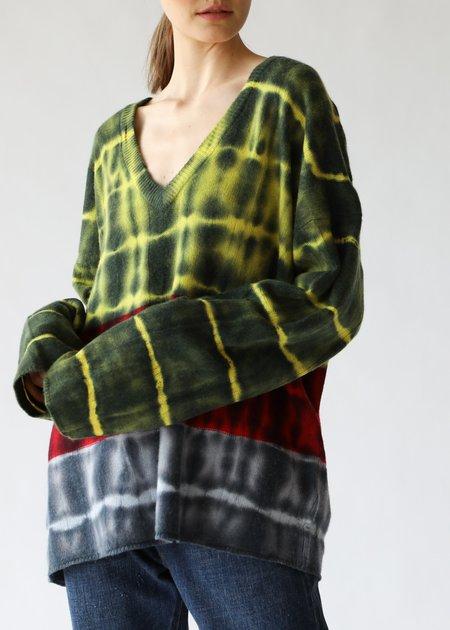 Raquel Allegra Boxy V Neck Sweater - Citrus Stripe