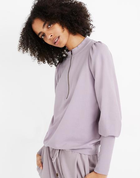 Apiece Apart Dewi Crew Zip Sweatshirt - Lilac