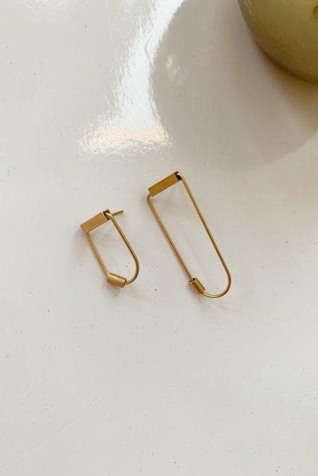 Collanevrosi Jewelry Asymmetrical Loop Tube Earrings - Gold Plated