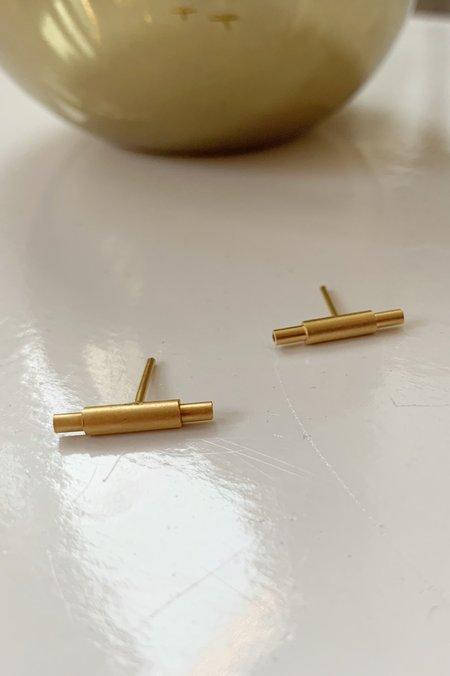 Collanevrosi Jewelry Cylinder Tube Earrings - Gold Plated