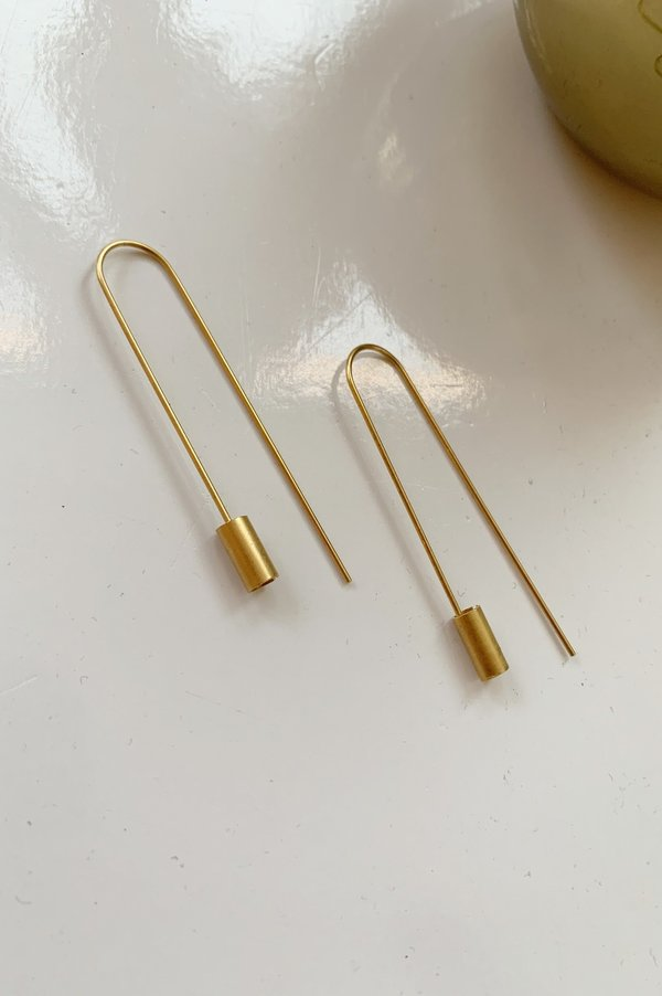 Collanevrosi Jewelry Tube Threader Earrings - Gold Plated