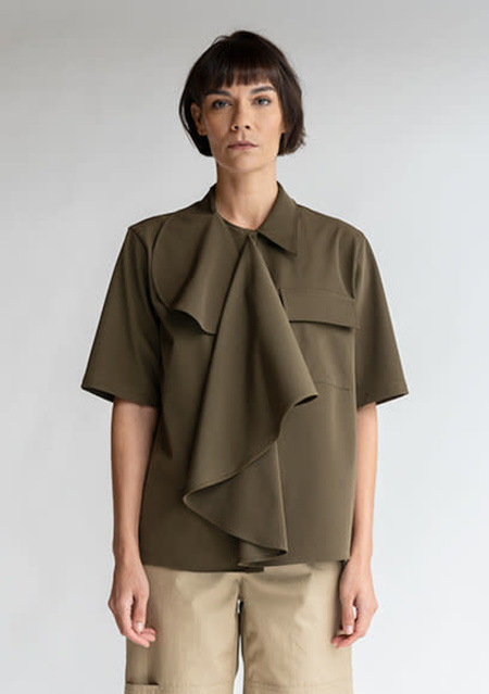 MM6 Maison Margiela Multi-Wear Drape Shirt - Military Green