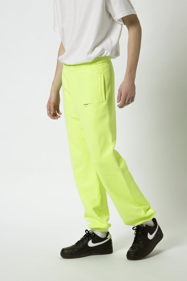 "Off-White ""Off W Logo"" Slim Sweatpants - Fluorescent Yellow"