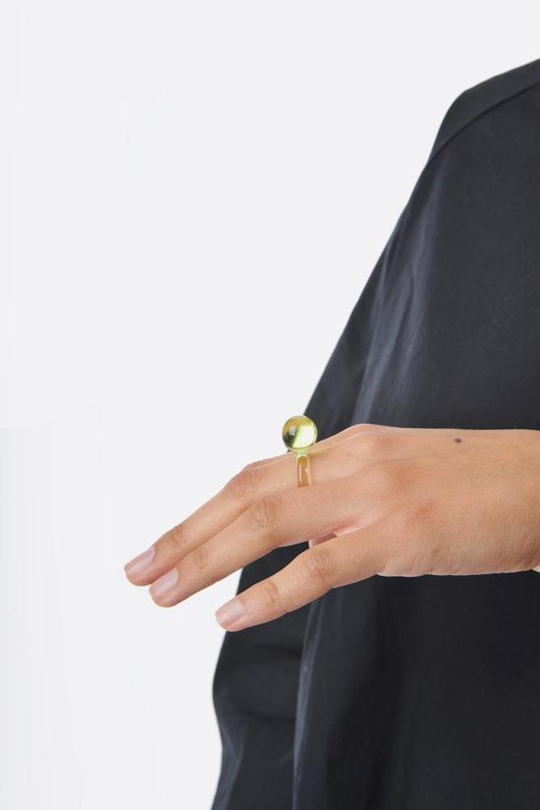 Jane D'Arensbourg Orb Glass Ring - Lime
