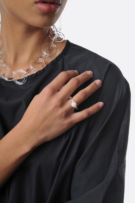 Jane D'Arensbourg Dot Glass Ring - White