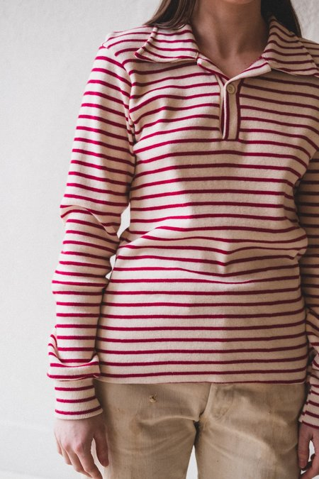 VINTAGE COLLARED SPORTS SHIRT - red/off white