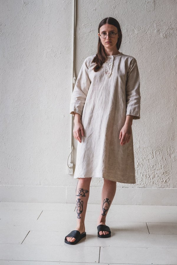 VINTAGE FRENCH TUNIC DRESS - ecru