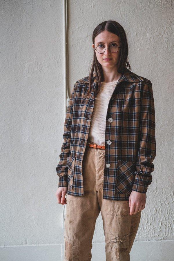 Vintage Wool Plaid Shirt - Blue/Brown
