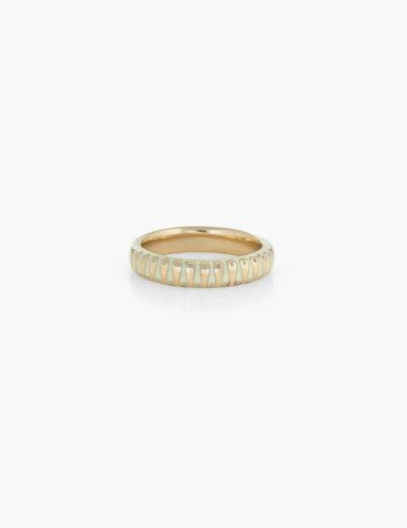 Kathryn Bentley 60's white striped enamel band - 14K gold