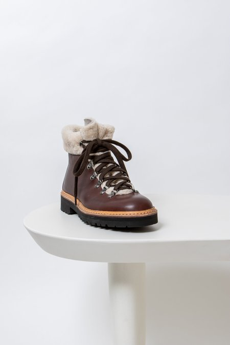 Fracap Lace Up Fur Boot - Brown