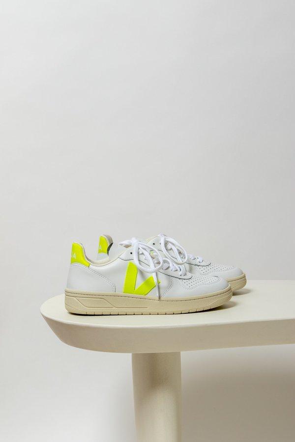 Veja V-10 Leather sneaker - White/Yellow