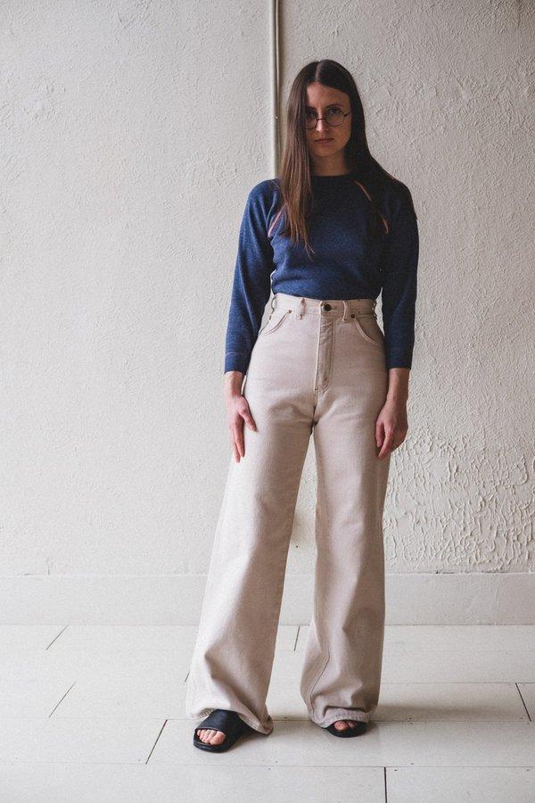 Vintage Wide Leg Jeans - Beige
