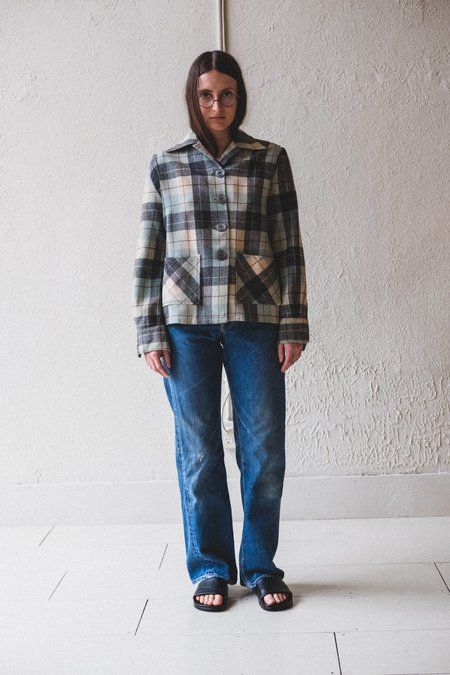 Vintage Wool Plaid Shirt - Blue/Grey