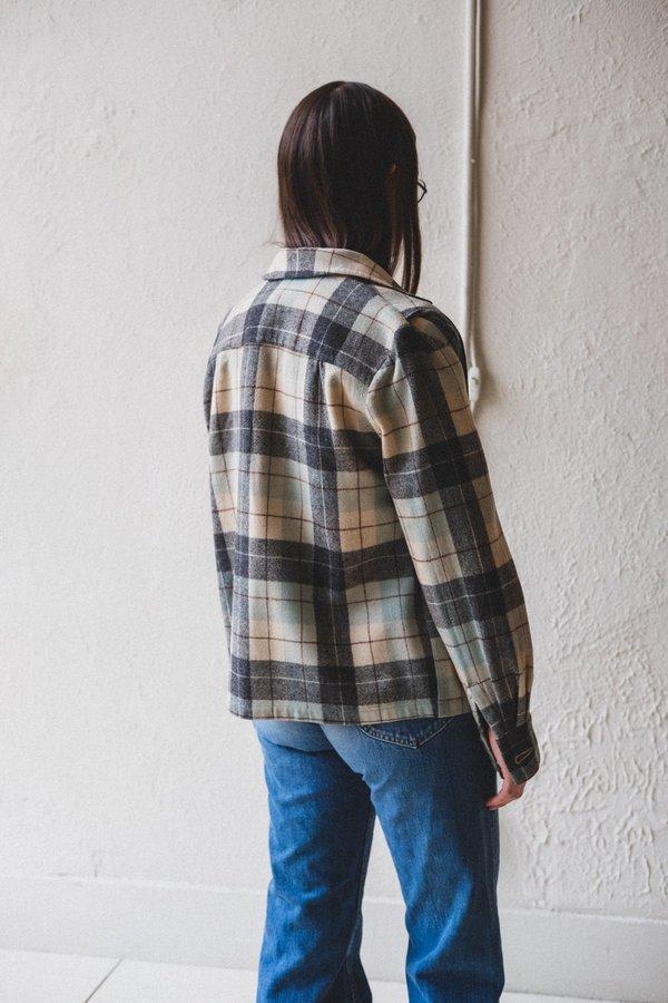 Vintage Wool Plaid Shirt - Blue/Grey