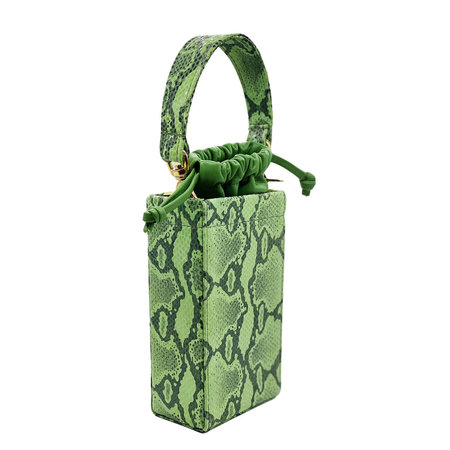 altaire embossed phone box leather bag - green snake
