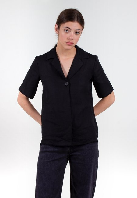 NOBODY DENIM Gallery Linen Shirt - black