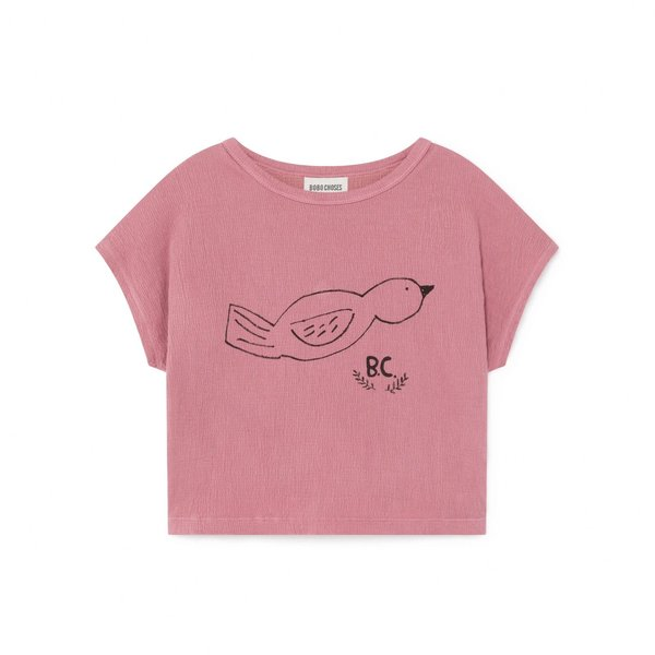 KIDS Bobo Choses Bird Short Sleeve T Shirt - PINK