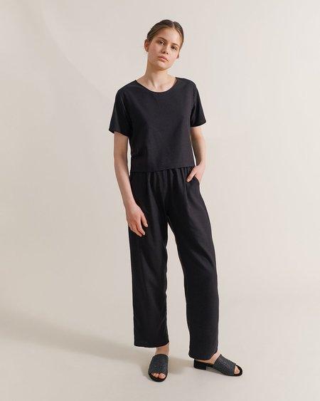 Maria Morgana Raw Silk Crop Top - Black