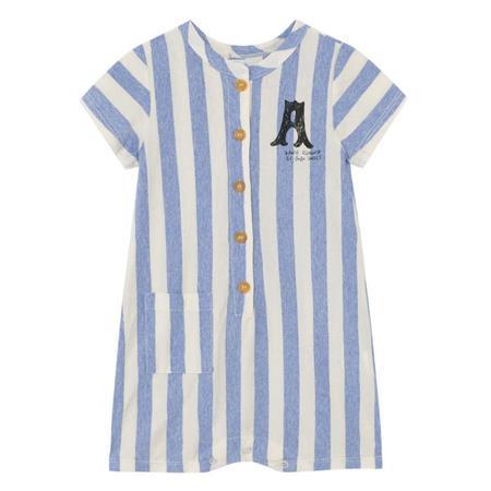 Kids Bobo Choses Short Sleeved Romper - Blue/White Stripes